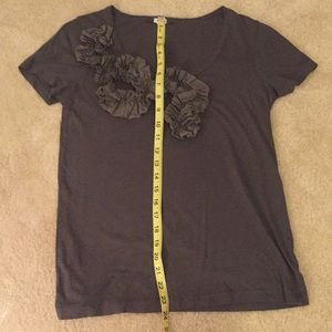 J. Crew Tops - J. Crew Charcoal grey t-shirt with ruffle front